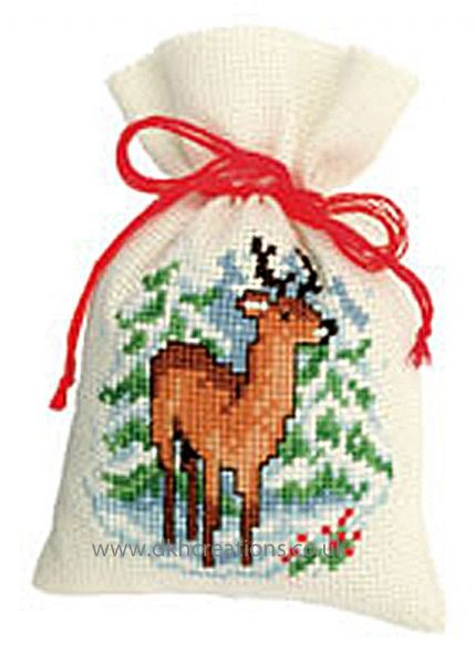Winter Deer Pot Pourri Bag Cross Stitch Kit